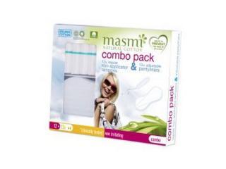 Купить Masmi набор Комбо (12 органических тампонов Regular без апликатора+12 органических ежедневных прокладок Мультиформ)