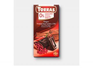 Купить ЧЕРНЫЙ ШОКОЛАД TORRAS с корицей розовым перцем и перцем чили