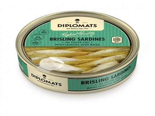 Купить Сардины подкопченые в оливковом масле с лимоном и базиликом, ТМ Diplomats